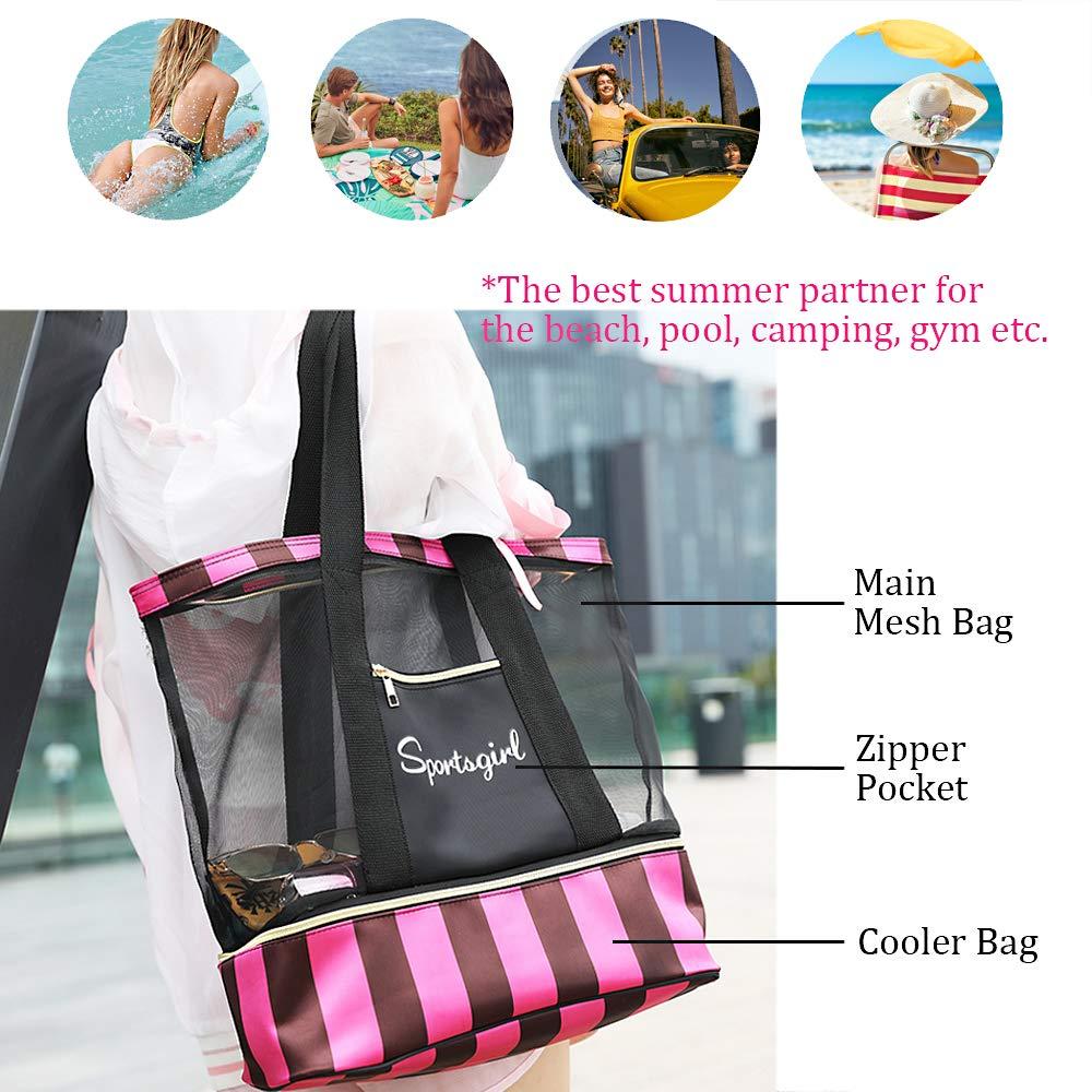 2a71d44da38b Summer Romance Mesh Beach Bag Tote Bag with Waterproof Insulated Bottom  (Black Rose)