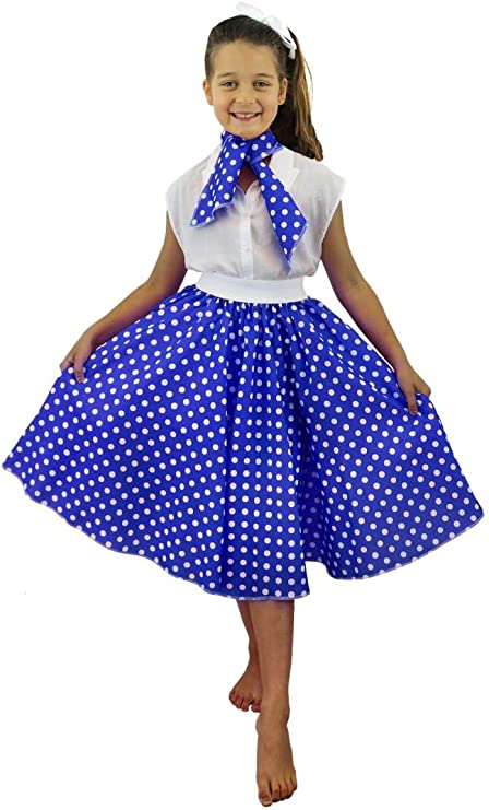 I LOVE FANCY DRESS LTD Falda Longa Azul con Puntos Blancos Lunares ...