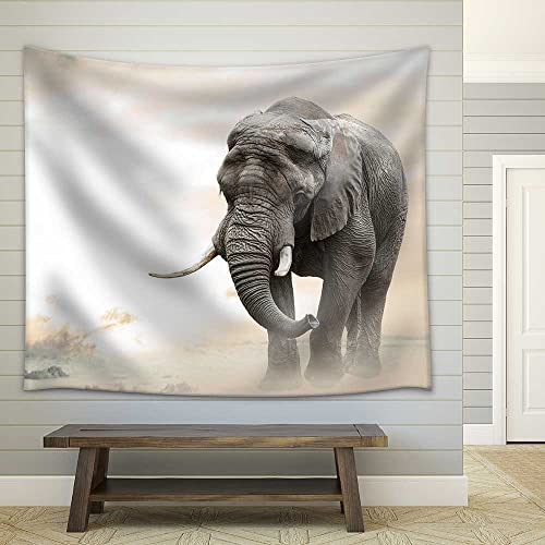 wall26 – African Elephant Male Walking Alone in Desert at Sunset – Fabric Wall Tapestry Home Decor – 68×80 inches