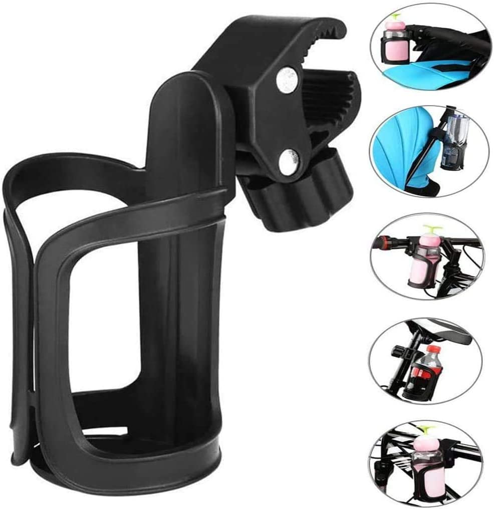 Wheelchair Universal Stroller Cup Holder Adjustable Bottle Holder 360/° Rotation Water Bottle Organizer Drink Coffee Cup Holder Cycling Bottle Cages,Fits for Bike,Bicycles,Baby Pram,Buggy,Pushchair