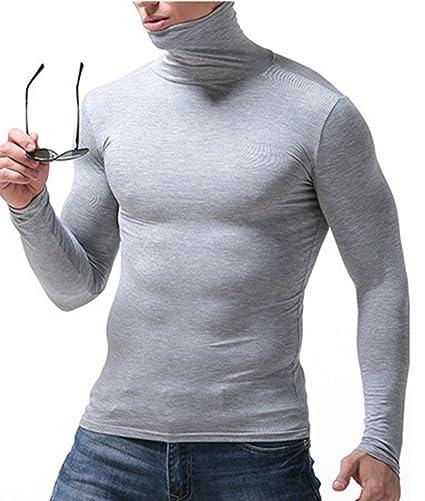 YiLianDa Uomo Maglia A Collo Alto Intimo Maniche Lunghe Pullover Modale Tinta  Unita Basic T Shirt Autunno Inverno  Amazon.it  Abbigliamento 3e527f2bcedd