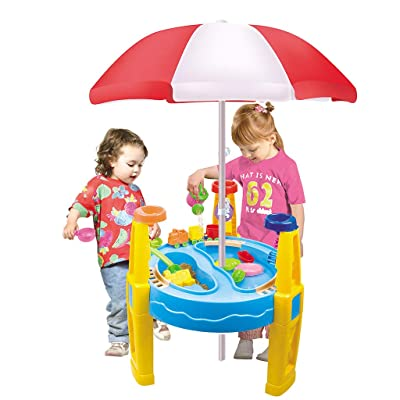 Novania Summer Beach Sand Water Table with Sun Umbrella, 2 in 1 Children Play Water Digging Sandglass Play Sand Tool, Kids Rain Showers Splash Pond Water Seas Waterpark,Outdoor Pools Sandbox Sets: Kitchen & Dining