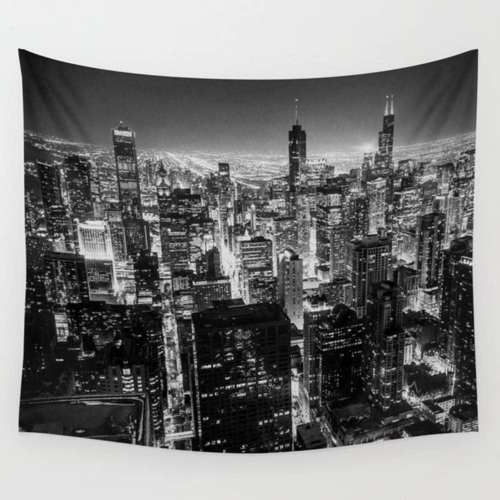 Chicago Skyline Tapestry Sleeping City Print Wall Hanging Decor