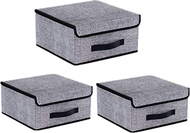 Catalpa - Juego de 3 cajas plegables con tapa y asas, cesta plegable, 38 x 24 x 24 cm: Amazon.es: Hogar