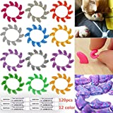 120Pcs(12Color) Crystal Cat Claw Caps Soft Rubber Pet Paws Nail Grooming Cover + 6 Adhesive Glue + 6 Applicator Tips (M)