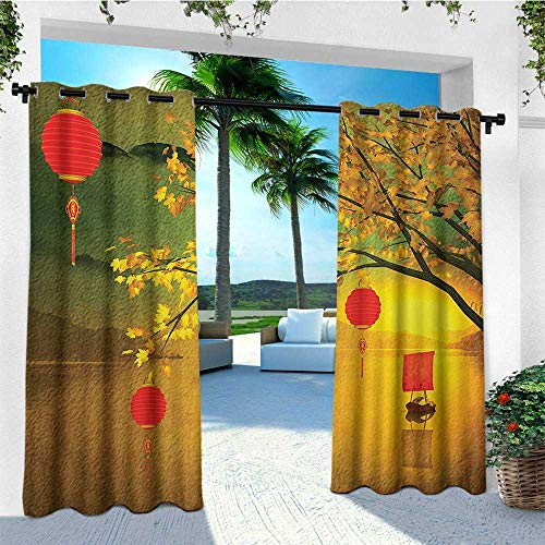 leinuoyi Lantern, Outdoor Curtain Set, Traditional Chinese Lanterns Hanging from Pale Fall Trees Lake Faded Nature Photo, Outdoor Curtain Set for Patio Waterproof W108 x L108 Inch ()