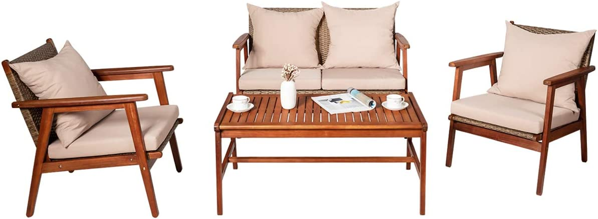 Tangkula 4 PCS Patio Wood Sofa Set, Outdoor Acacia Wood Seating Chat Set with Cushions & Coffee Table, Sectional Conversation Sofa Set for Garden, Backyard, Poolside (1, Brown)