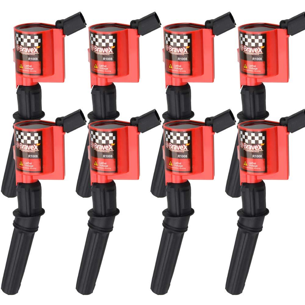 Set of 8 Super High Energy Ignition Coils for Ford 1997-2004 F-150 F-250 F-350 E150 E350 4.6L 5.4L V8 DG508 LINCOLN MERCURY RED