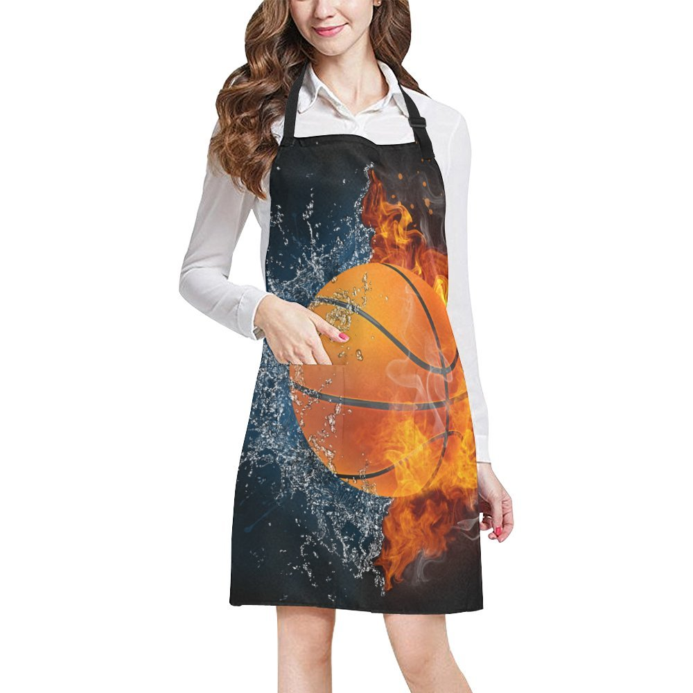 InterestPrint Basketball Ball in Fire and Water Kitchen Apron - Mens and Womens Bib Apron - Adjustable with Pockets for Cooking Baking Gardening, Large Size