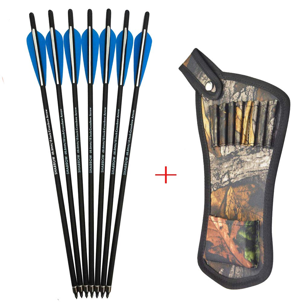AMEYXGS 12pcs Crossbow Bolts Arrows Carbon Shafts Crossbow Arrows 16'' 17'' 18'' 20'' 22'' Hunting Practice Arrows with Arrow Quiver (Blue, 22inch) by AMEYXGS