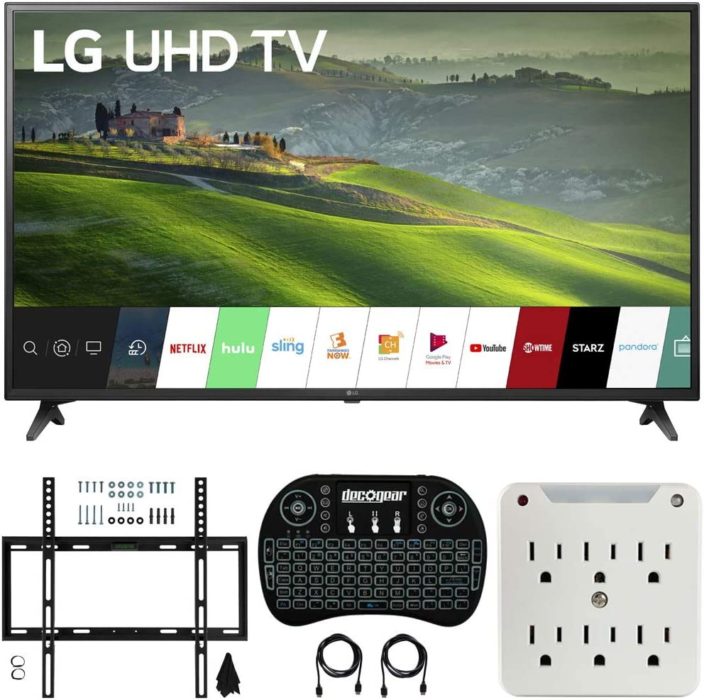 LG 49UM6900 49-inch HDR 4K UHD Smart IPS LED TV (2019) Bundle with Deco Mount Flat Wall Mount Kit, Deco Gear Wireless Backlit Keyboard and 6-Outlet Surge Adapter with Night Light