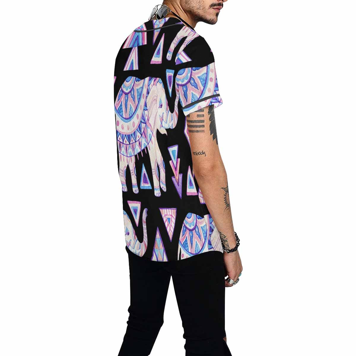 INTERESTPRINT Mens Button Down Baseball Jersey Watercolor Indian Elephant