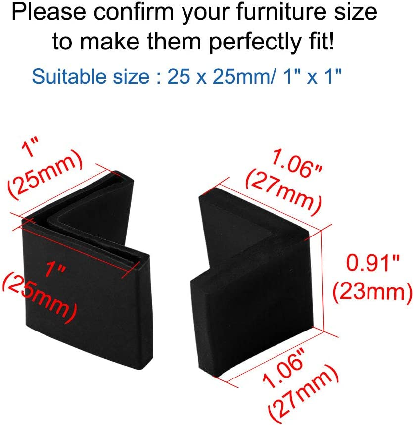 sourcing map 25mm x 25mm Angle Iron Foot Pads L Shaped PVC Furniture Desk Leg Caps End Covers Floor Protector Black 6 Pcs