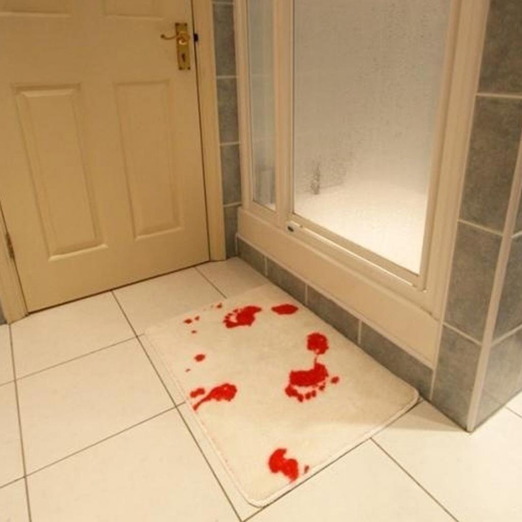 Amesii Tapis de bain effrayant Motif empreintes de pied sanglantes Antid/érapant Blanc/+/Rouge
