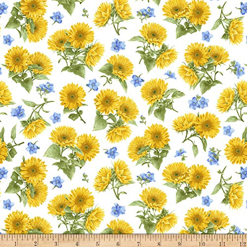 Henry Glass My Sunflower Garden Tossed Sunflowers Fabric, White Multicolor, Fabric By The Yard