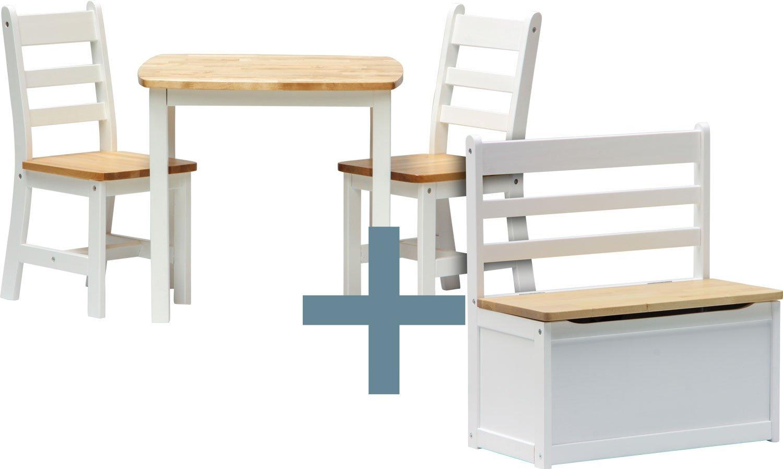 IB - Style - Meubles enfants ILEX | 3 combinaisons | 4 piéces: 1 Table + 2 chaises + 1 banc - Chambre enfant Meuble