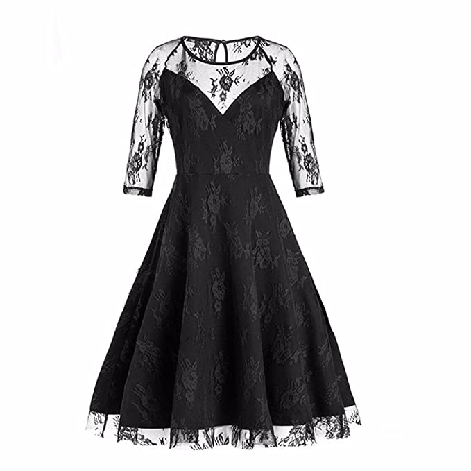 VENMO Mujeres nueva Vintage Encaje Formal Patchwork Boda Cóctel Fiesta Retro Swing Vestido (negro,