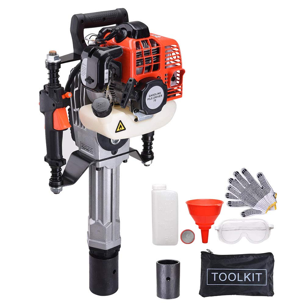 Yescom 51.7cc Gas Powered T Post Fence Post Driver Portable 2 Stroke Gasoline Pile Driver EPA Certificated