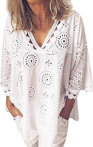 ZEFOTIM Women Half Sleeve Cotton Linen Hollow Out Lace Patchwork T-Shirt Blouse Tops(White,)