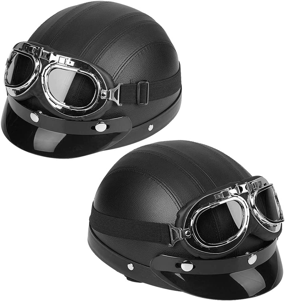 Cocoarm motorcycle helmet,Universal Motorcycle Scooter Synthetic Leather Open Face Half Helmet /& Visor UV Goggles Black,Leather Helmet with Visor UV Goggles
