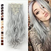S-noilite 24 Inches Long Curly Full Head Clip in Synthetic Hair Extensions 8pcs 170g (Silver Grey) by S-noilite