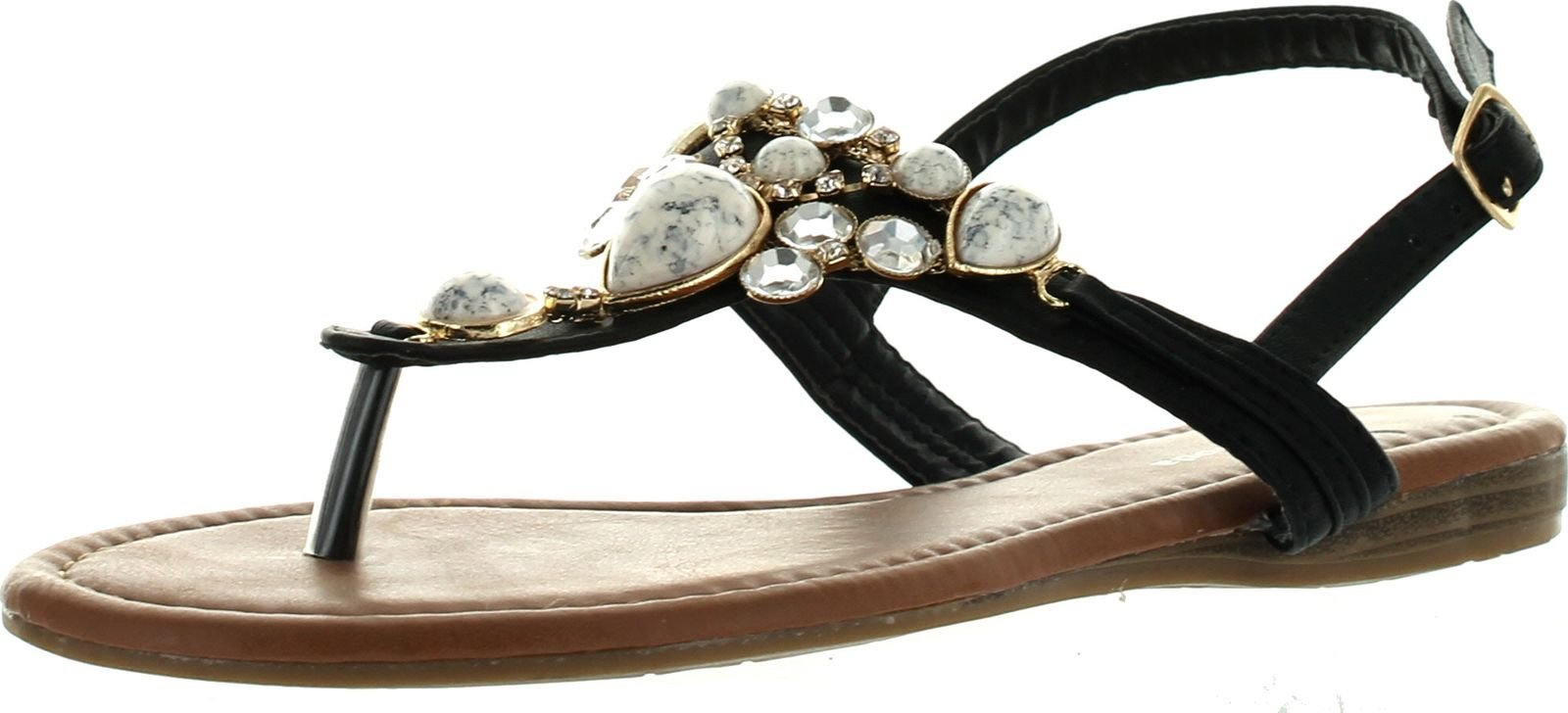 Top Moda Cb-6 Womens T-Strap Slim Strap Gemstone Buckle Flats Sandals,Black,8.5