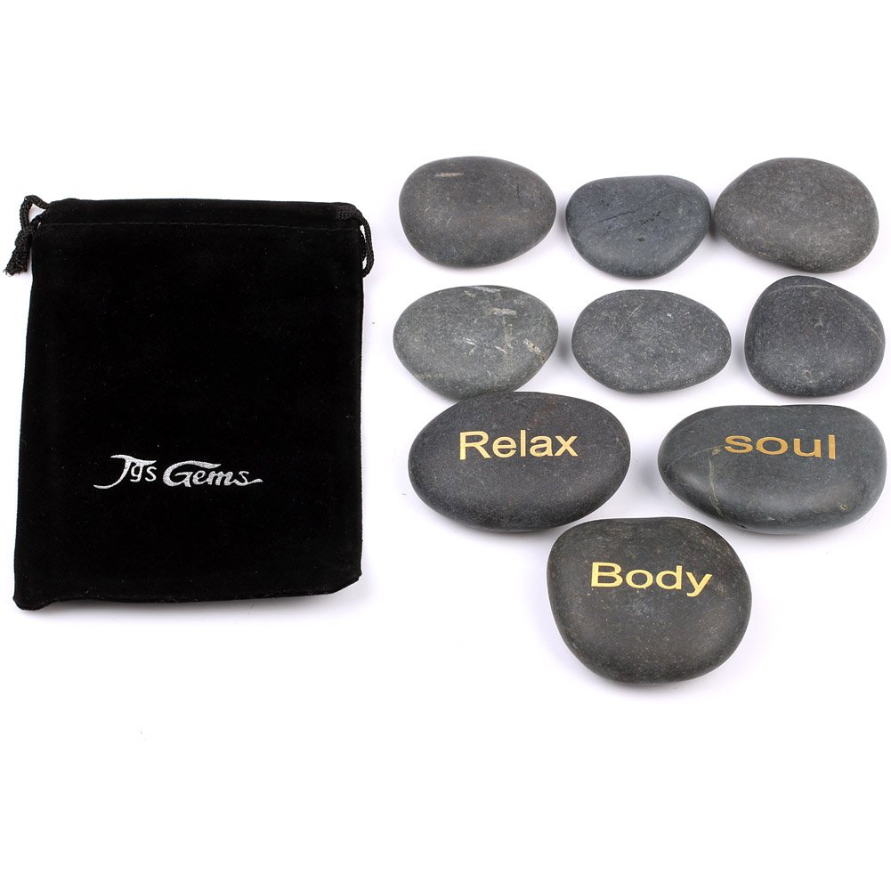 TGS Gems Engraved Massage Stones Gift Spa Hot Rocks Etched Stone With Relax,Body,Soul Free Pouch