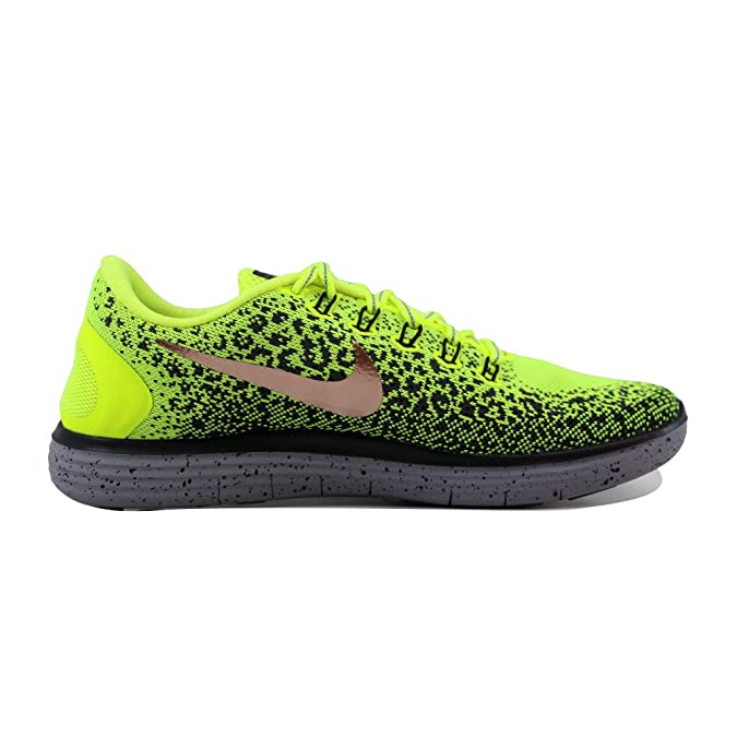Nike Free RN Distance Chaussures de Trail Running, Homme, Jaune (Volt/MTLC Filet Bronze/Dark Grey/Black), 43