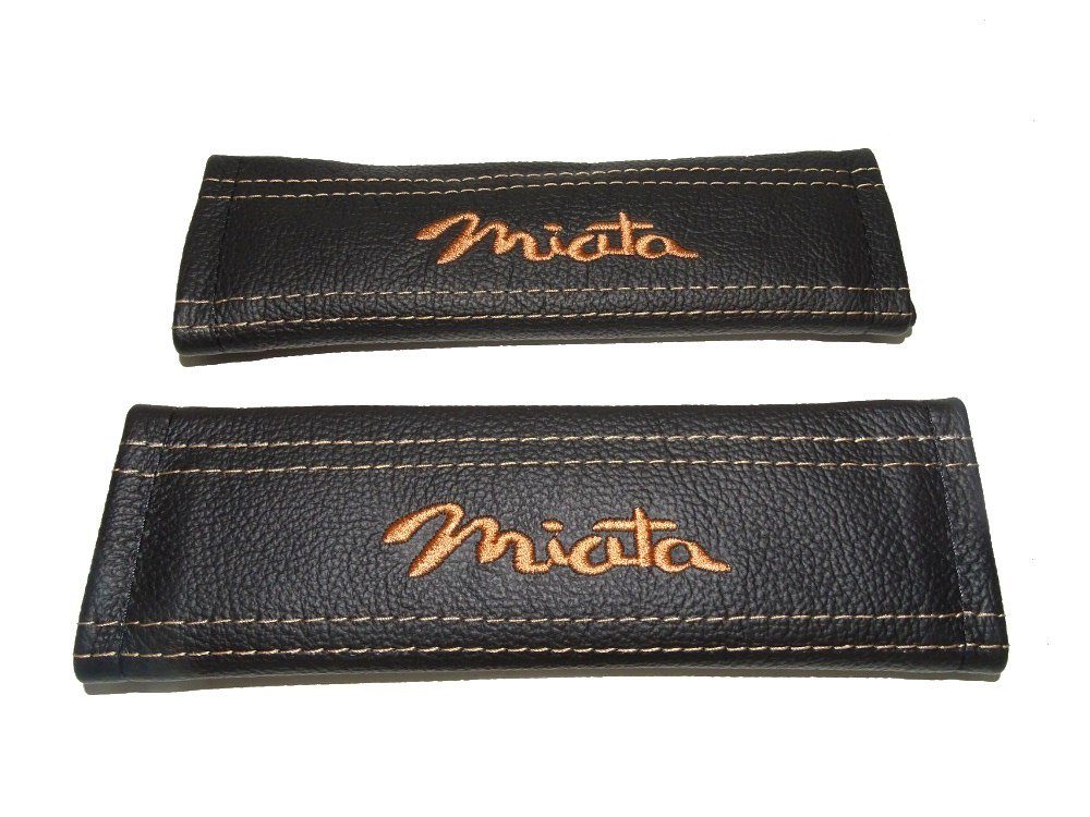 The Tuning-Shop Ltd 2 x Seat Belt Covers Pads Black Leather Miata Tan Embroidery for Mazda