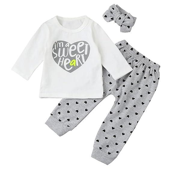 Fossen Ropa Bebe Niñas Camisetas de Manga Larga y Pantalones con Cintas de Pelo Recien Nacido