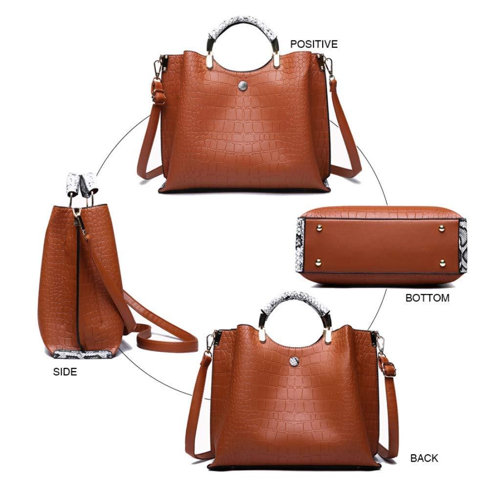 hysxm ny dam Messenger väska typ sadelväska enfärgad kromplätering axelväska bärbar Pu handväska crossbody väskor BRUN