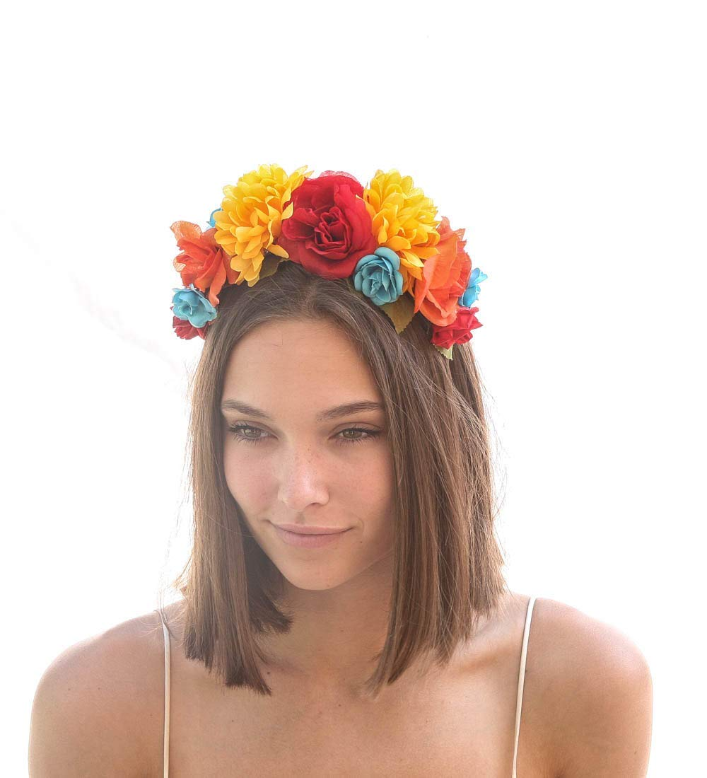 Amazon Com Mexican Flower Crown In Bright Colors Day Of The Dead Headband Halloween Hair Accessory Corona De Flores Costume Mexico Frida Kahlo Halo Handmade