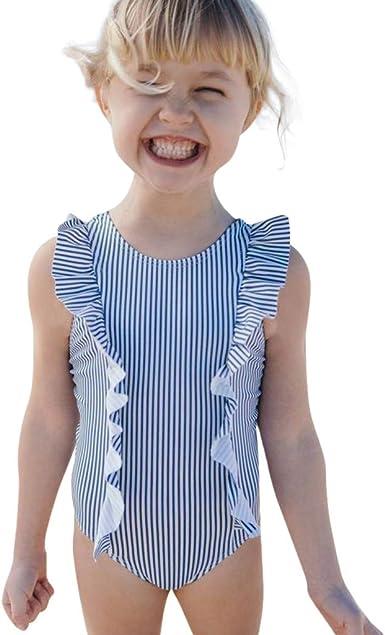 Cuekondy Toddler Baby Girls Kids Long Sleeve One Piece Swimsuit Rashguard Ruffle Dot Striped Swimwear Bathing Suit