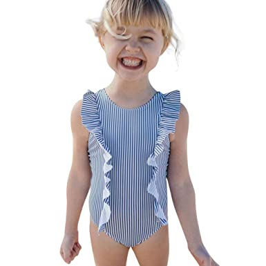 1cf403bff Feitengtd Toddler Kids Baby Girl Swimsuit Ruffles Bathing Suit Bikini  Striped Swimwear Blue