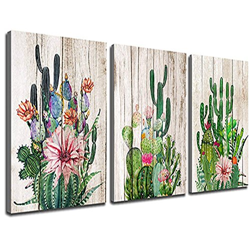 Cheap  Canvas Prints Wall Decor Art Cactus Desert Plant with Spiny Flower Watercolor..