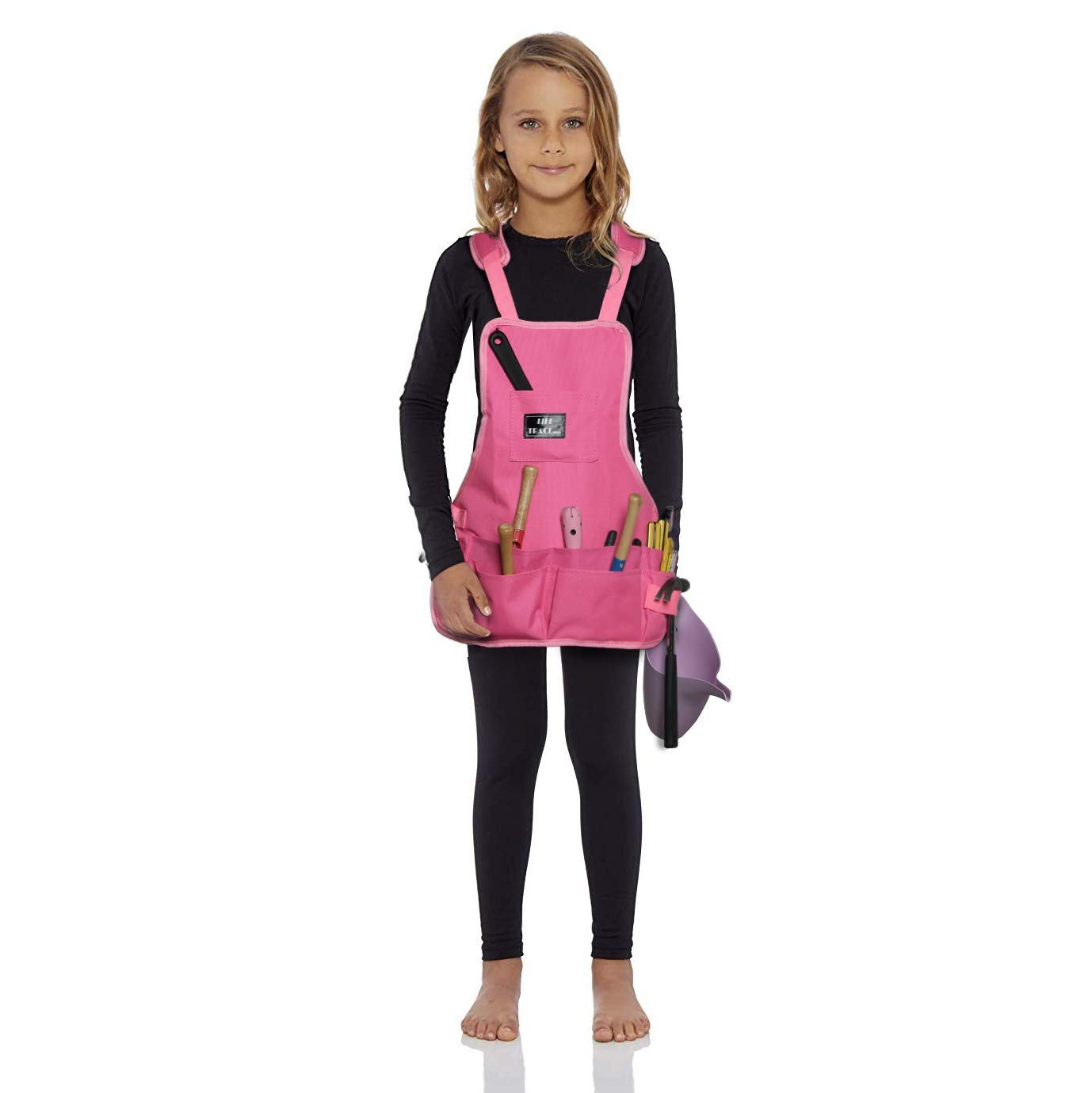 LIFE TRACE Kids Apron, with 10 Pockets, for Gardening Care,Painting, Pretend Play, Cooking, Thick-Padded Shoulder Straps, Adjustable Cross, Waterproof,Pink Color, XXS-S Size