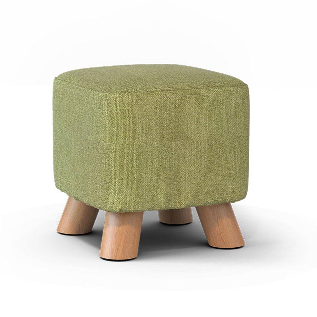 LIU RUOXI Ottoman Round Stool,Vanity Stool,Washable And Detachable Footstool, Cotton And Linen Pouf, 9.811.4'',Matchagreen