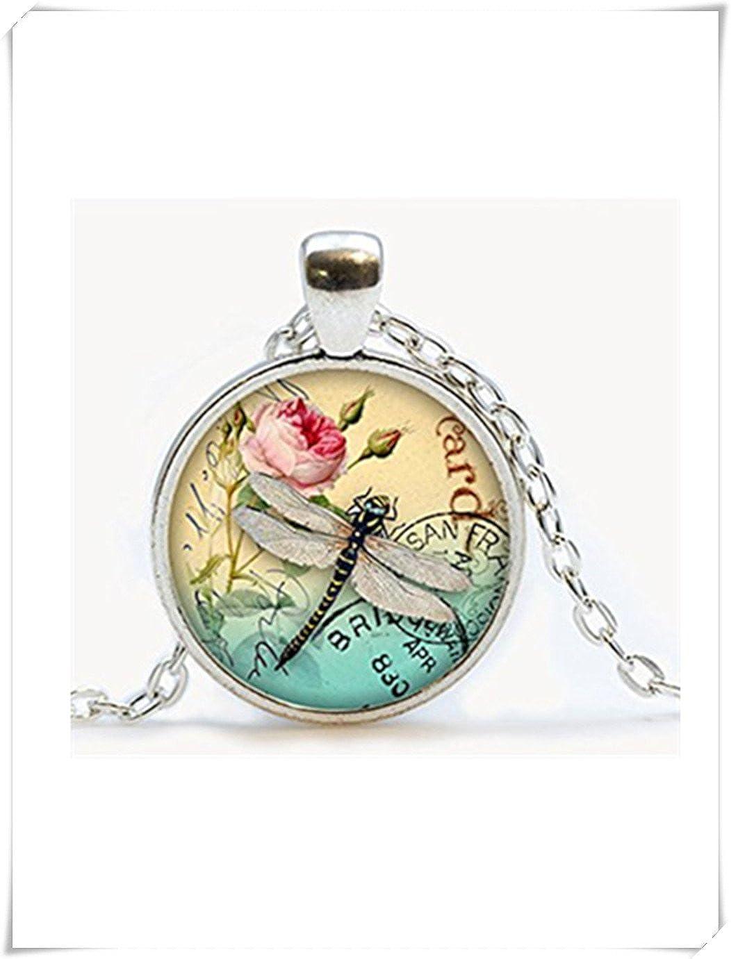 Blanco Libélula con Rose Collar colgante, libélula, Dragonfly cristal de cúpula de joyas, joyas, Pure hecho a mano