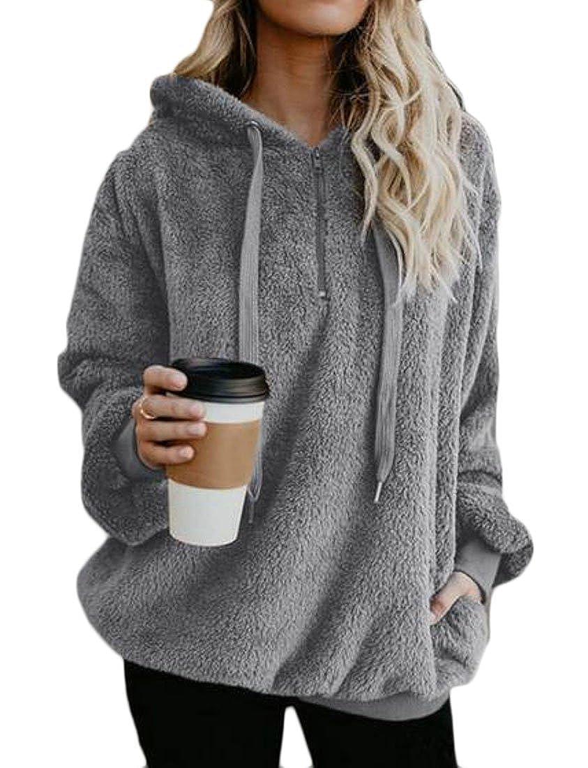 Fubotevic Women Pure Color Plus Size Loose Hoodie Casual Pullover Hoodies Sweatshirt