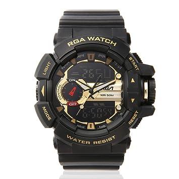 Deportes reloj de pulsera impermeable LED reloj Digital hombres reloj, color dorado: Amazon.es: Deportes y aire libre