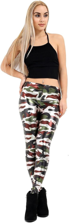 Women Camouflage Shinny Metallic Legging Ladies Military Print Legging HotPants