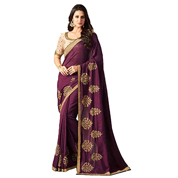 edebe23a25 Image Unavailable. Image not available for. Colour: DesiButik's Party Wear  Lovely Wine Silk Saree