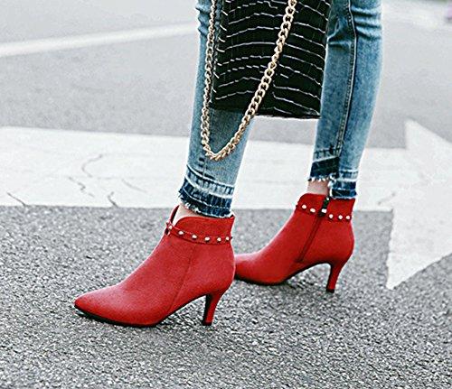Aisun Damen Sexy Spitz Zehen Niete Riemchen Kitten Heel Reißverschluss Kurzschaft Chelsea Stiefel Rot