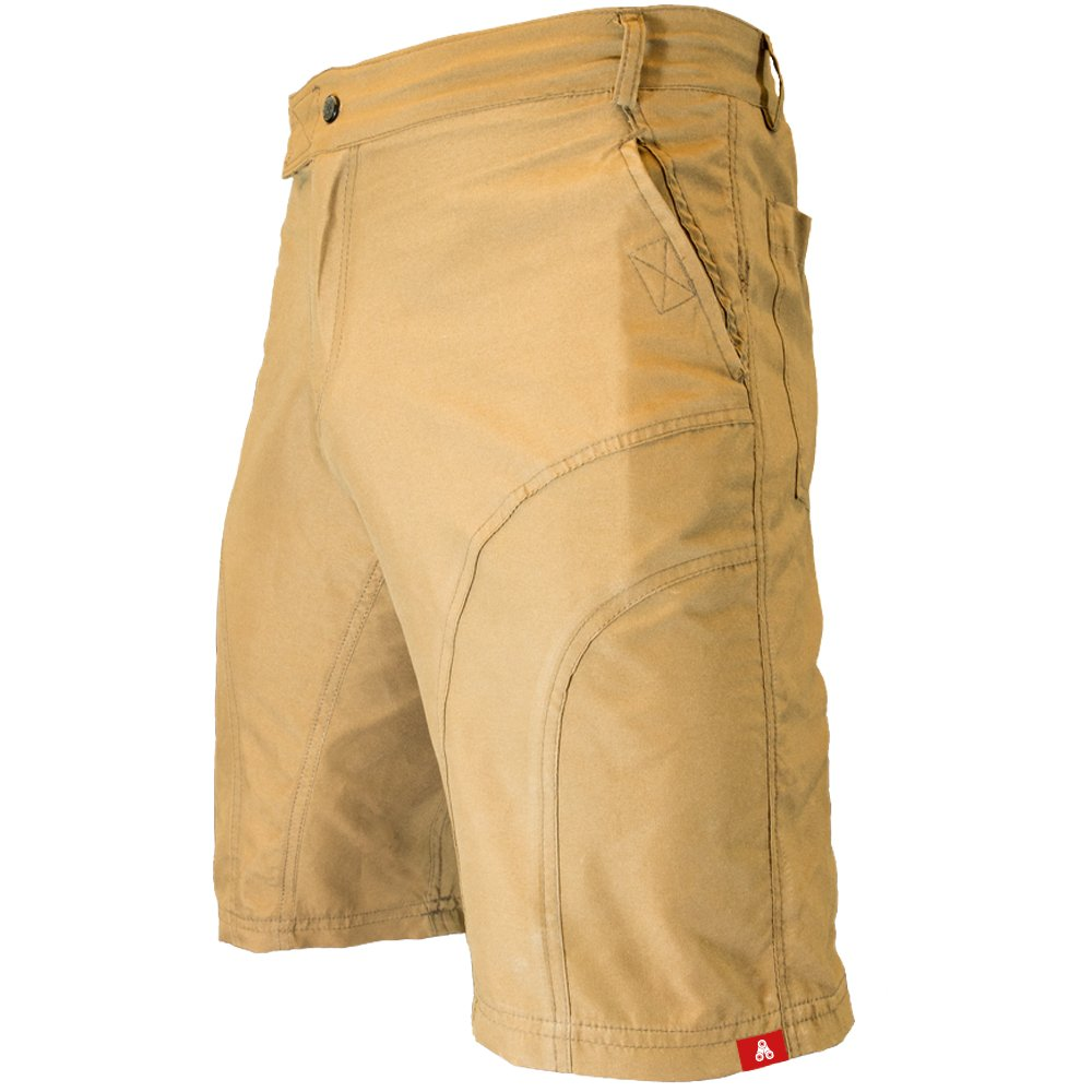 The Pub Crawler - Men's Loose-Fit Bike Shorts for Commuter Cycling or Mountain Biking, with Secure Pockets (Small 28-29'', Khaki - Without Padded Undershorts)