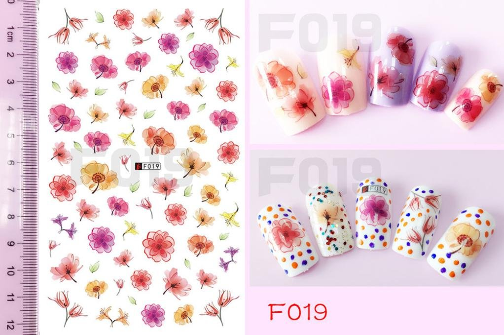 Clearance Sale! 3D Nail Art Stickers Tips for Teen Girls Women, Iuhan 3D Nail Applique Patterned Nail Back Glue Sticker Nail Art Tools Applicators (F)