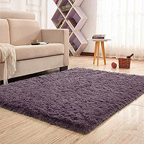 Noahas Super Soft 4.5cm Thick Modern Shag Area Rugs Fluffy Living Room Carpet Comfy Bedroom Home Decorate Floor Kids Playing Mat 4 Feet by 5.3 (Shaggy Purple Rug)