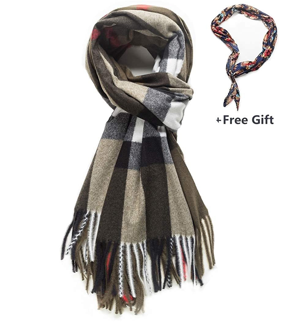 003brown&khaki Women's Fashion Long Shawl Warm Scarves Plaid Shaw Long Scarf Plaid Scarf Big Shawls Blanket Scarves Fall Winter Shawl gift
