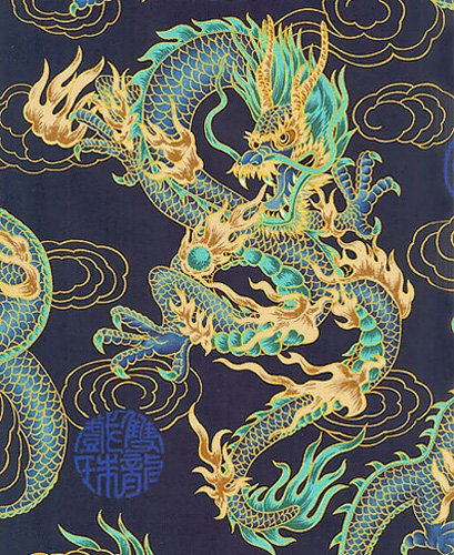 Asian Japanese Fabric: Fire-breathing Dragons - Navy (1 Yd -