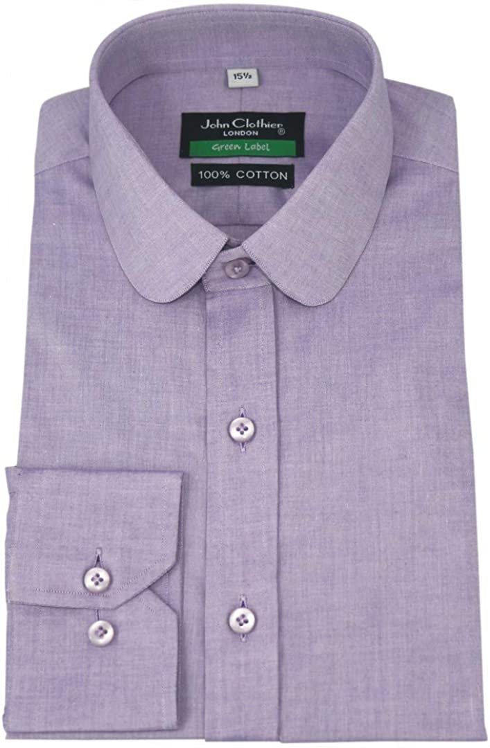 WhitePilotShirts Penny Collar Mens Shirt Lilac Purple 100/% Cotton Single Cuff Gents 200-08