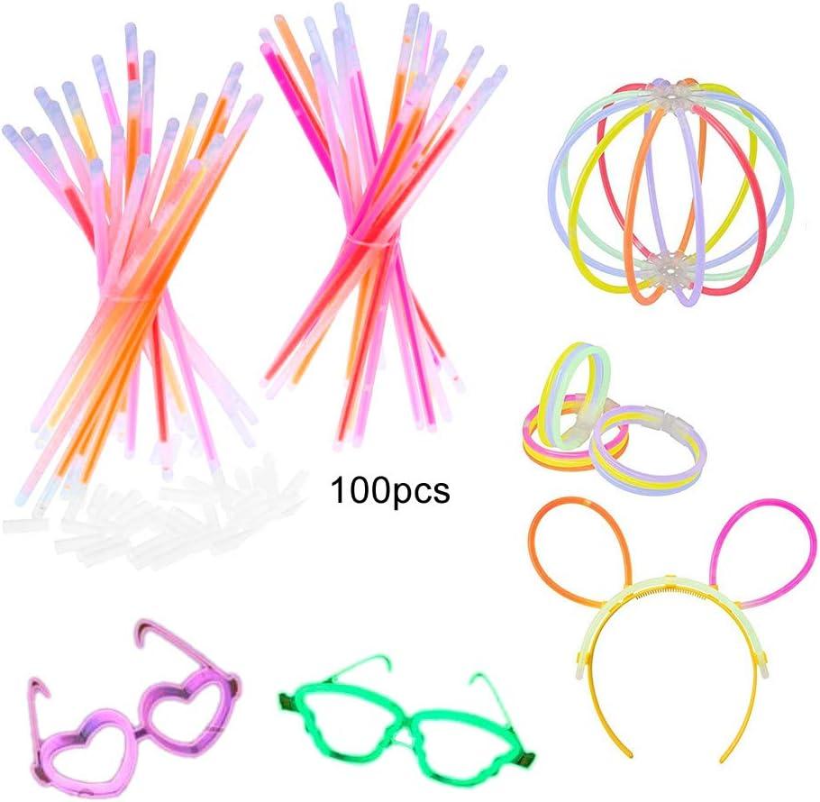 Pack de 100 Varitas Luminosas para Fiestas Apark - pulseras, collares, kits para crear gafas, pulseras triples, una diadema, pendientes, flores, una bola luminosa Premium y mucho más: Amazon.es: Hogar